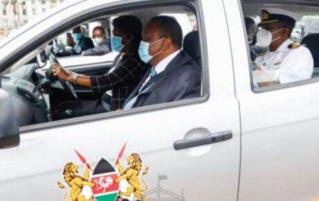 Ngilu drives President Uhuru in an Isuzu DMax double cab pickup