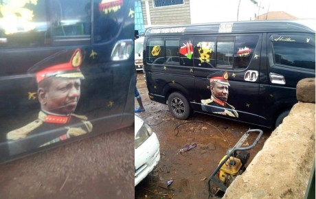 Juja police arrest Weitethie MCA Julius Macharia for driving a vehicle with portrait of DP William Ruto in military uniform