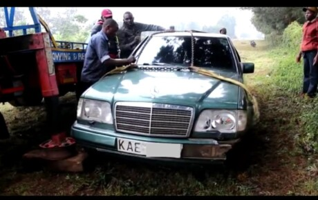 While overtaking on a tight stretch, this car hit a motorbike on Sunday, killing two preachers on the spot