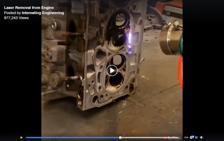 Video – This laser removes the carbon buildup and oil from a cylinder head @KenyanTraffic